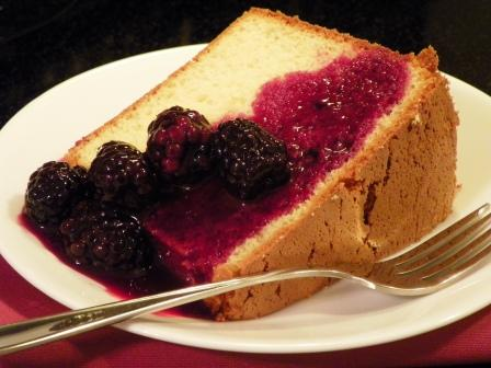 Orange Chiffon Cake and Blackberry Sauce