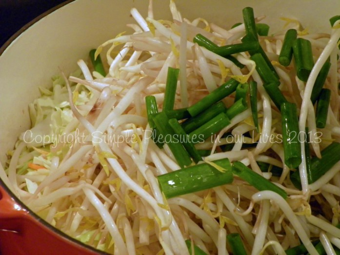 bean sprouts, green part of the green onions, salt, and white pepper