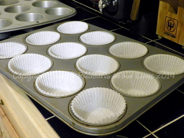 Line the muffin pans - we doubled the recipe for this batch