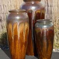 oil jar brown bleed triple vase fountain