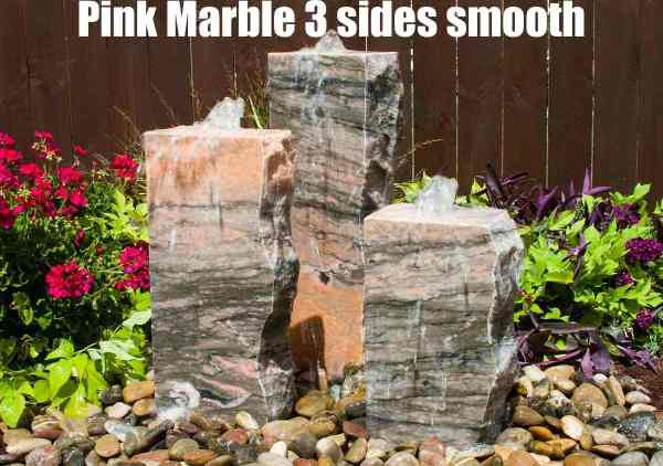 pink marble 3 sides smooth