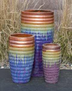 tivoli short copper tan blue purple bleed triple vase fountain