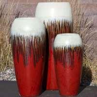 tivoli tall white red bleed triple vase fountain