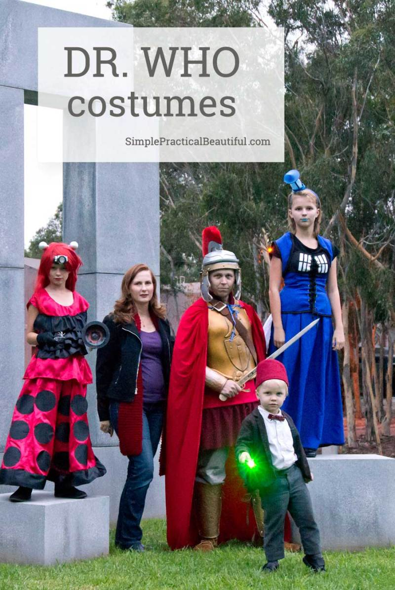 Family Dr. Who costumes with the eleventh doctor, the Tardis, a Dalek, Amy Pond, and Rory Williams. Fun ideas for Halloween or Doctor Who Cosplay
