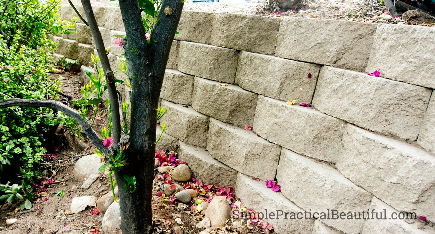how to build a brick retaining wall on a slope