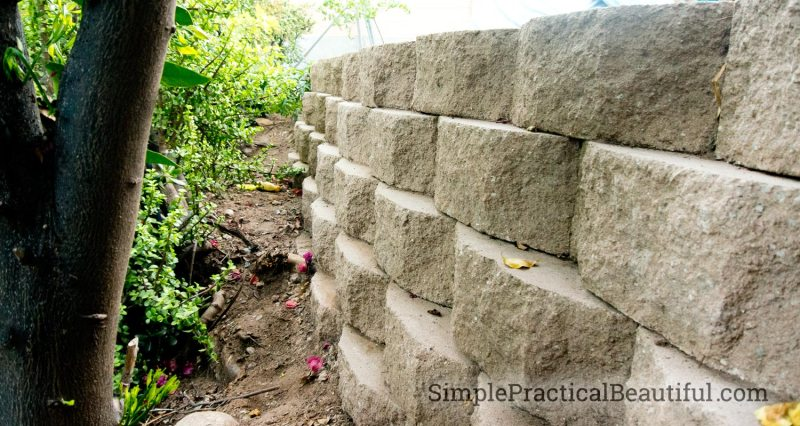 levels of the retaining wall