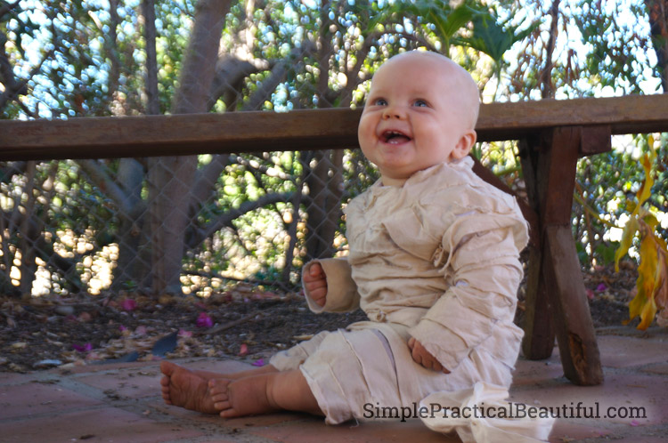 DIY baby mummy costume with stroller sarcophagus