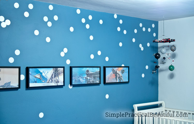 Vinyl dots make stars for a Star Wars nursery
