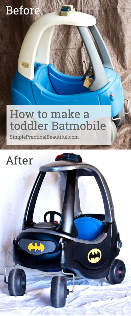 Turn an old Little Tikes car into a toddler Batmobile