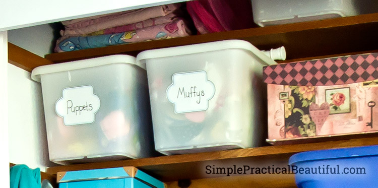 Tween closet redesign - toy bins with labels