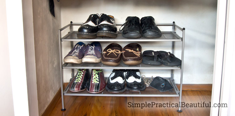 Clean up the closet floor with a shoe rack