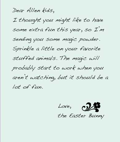 A letter from the Easter Bunny