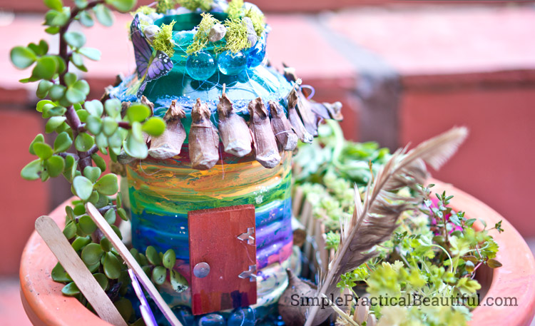 A Fairy House Made From An Old Bottle Simple Practical