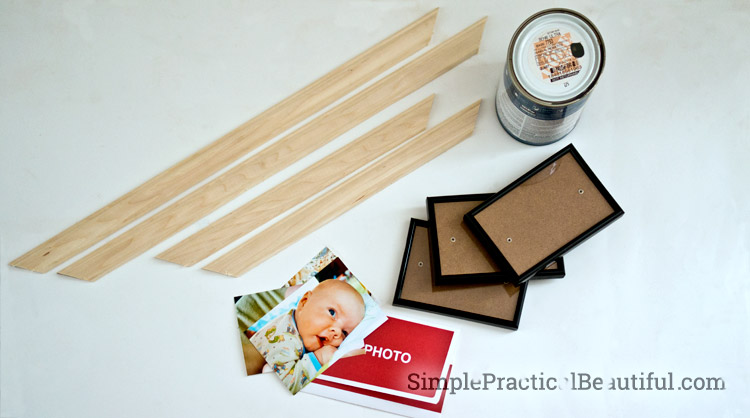 How to make a DIY photo collage frame from wood moulding and cheap picture frames