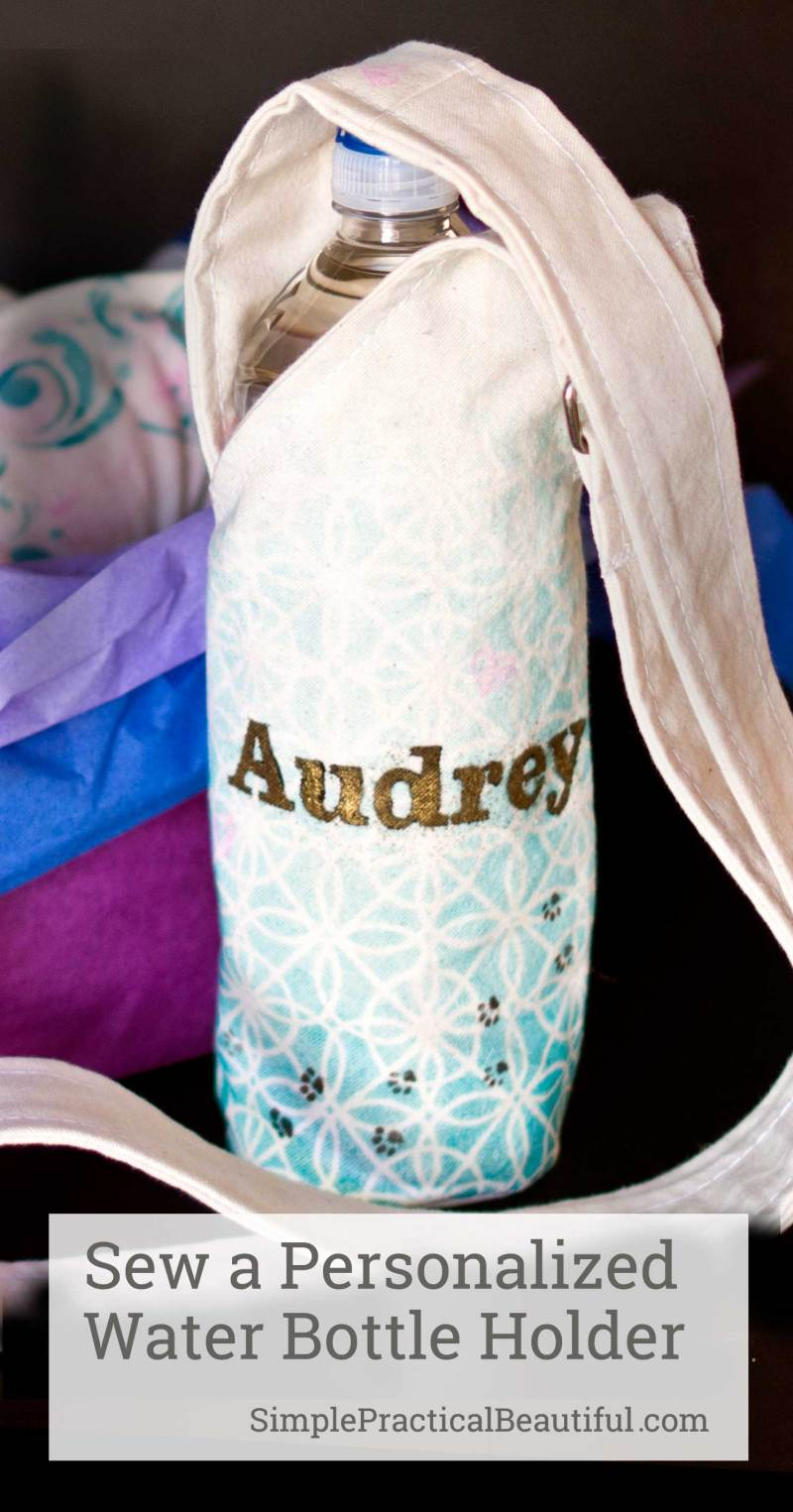 Use this free printable pattern to sew a water bottle holder, then personalize it with stamps and stencils. A great Holiday gift idea!