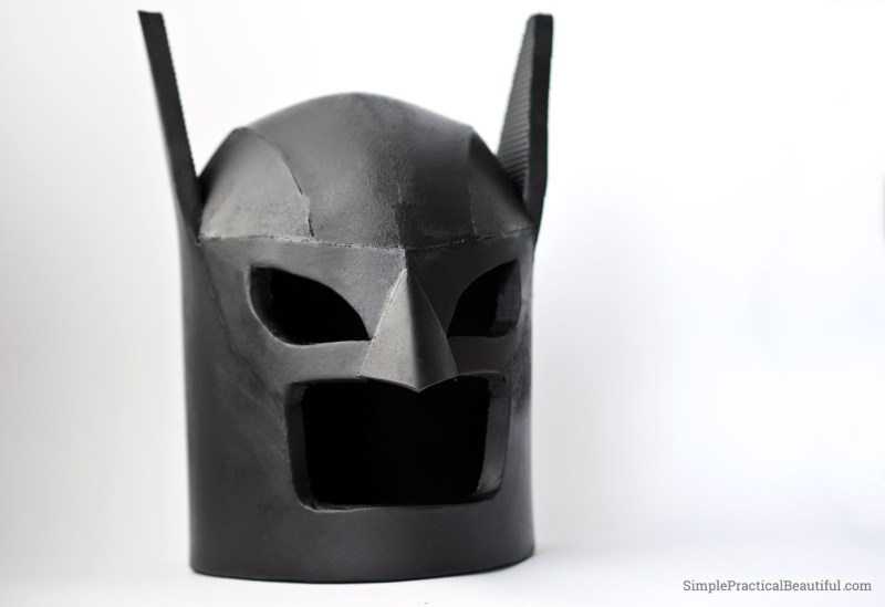 Make a child-size DIY LEGO Batman helmet or cowl out of foam from The LEGO Batman Move