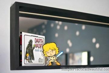DIY Star Wars boy's room   chalkboard door   Darth Vader light switch   Death Star light   Star Wars nursery ideas
