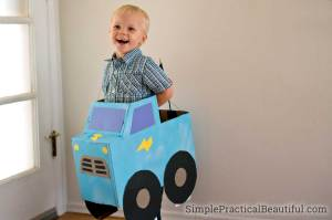 A monster truck costume to wear for the monster truck obstacle course game