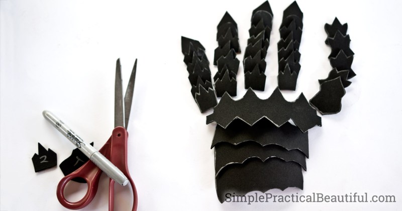 Gauntlet pieces cut from foam and put together to form a Nazgul hand