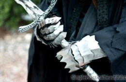 Lord of the Rings Nazgul costume close-up of metal-looking gauntlets