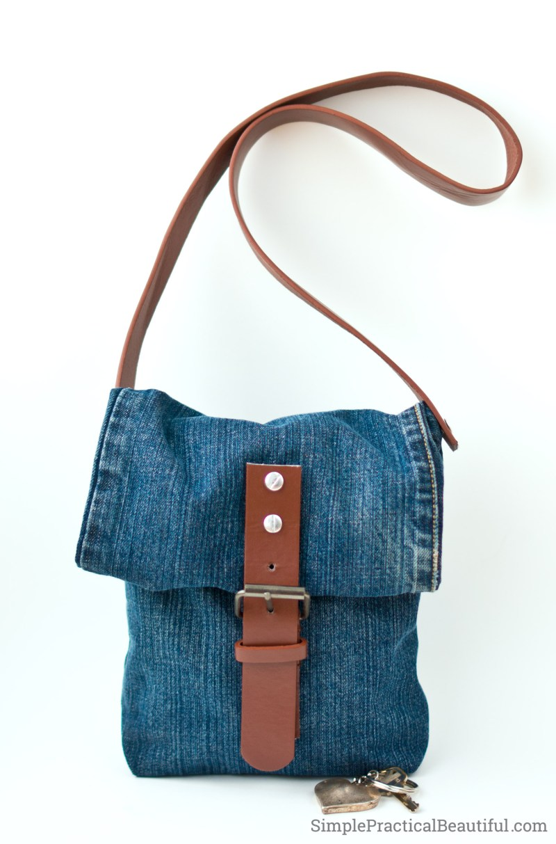 Repurpose an old pair of jeans and a worn out belt into a jean purse