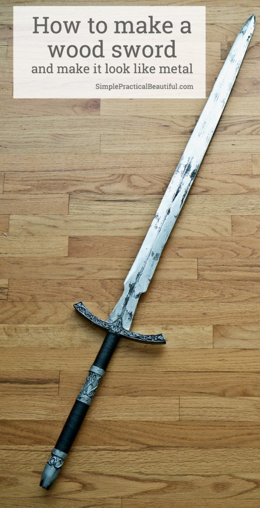How to make a wood sword and make the wood look like metal | costume sword | halloween costume | cosplay | DIY How-to tutorial on weapon carving