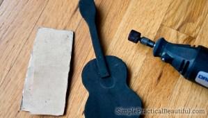Make a miniature guitar out of foam