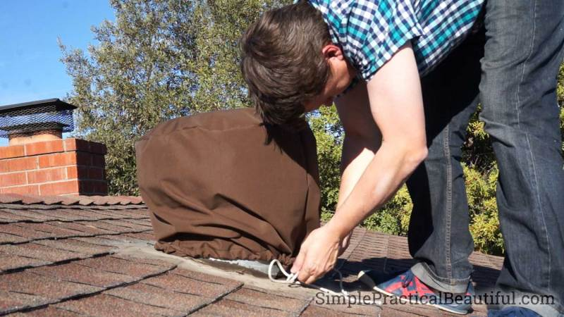 Make a DIY roof vent cover for your whirlybird with outdoor fabric