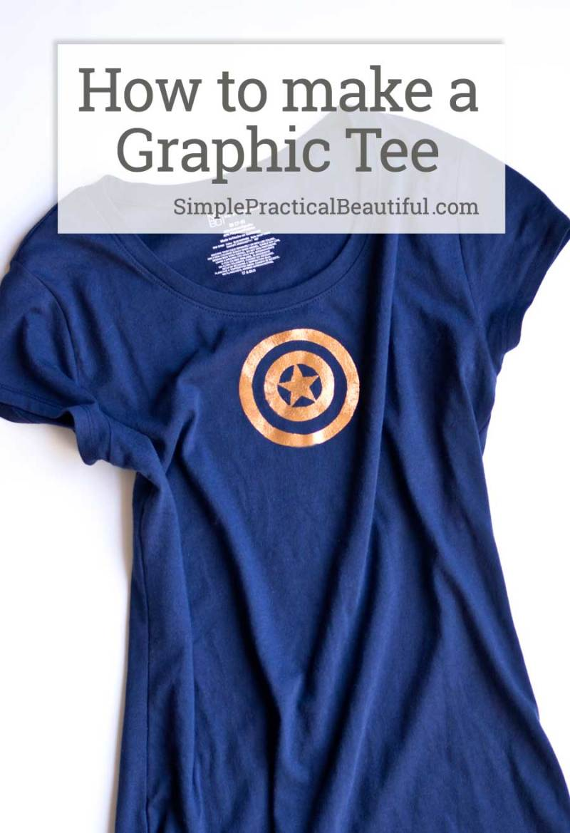 How to make a graphic tee with Deco Foil metallic iron-on transfer like this Captain America t-shirt made to wear to The Avengers Infinity War movie