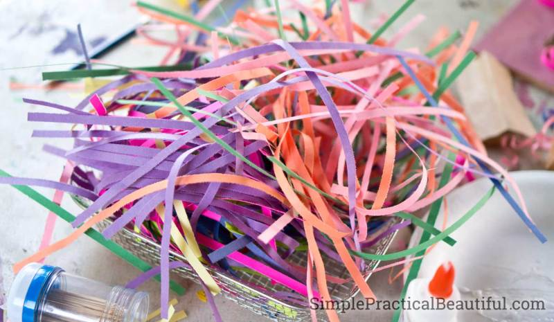 Shredded construction paper is perfect for quilling