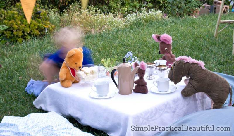 Have a fun tea party just like Christopher Robin with your favorite stuffed-animal friends.