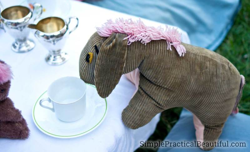 Eeyore waits for his tea and biscuits at the Christopher Robin tea party