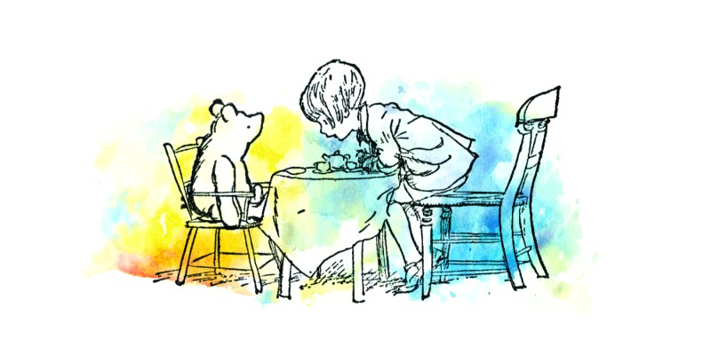 Winnie the Pooh and Christopher Robin having a tea party in the style of the original Ernest Shepard drawings