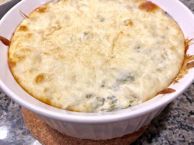 spinach artichoke dip in casserole dish