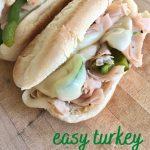 easy turkey cheesesteak sandwich recipe pin