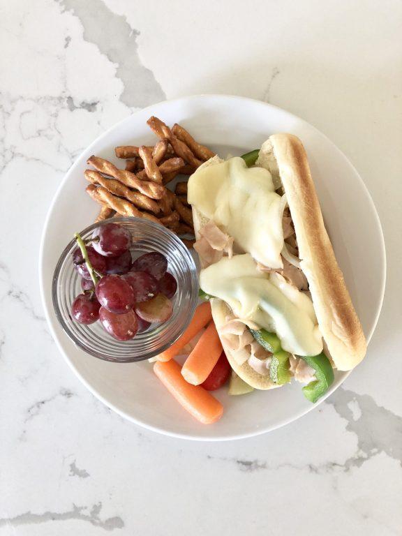 turkey cheesesteak sandwich dinner