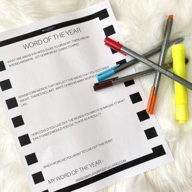 word of the year free printable worksheet