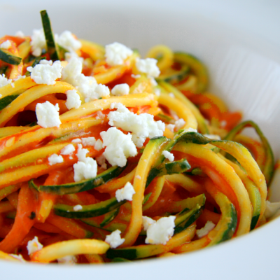Zucchini Noodles with Roasted Pepper and Feta Sauce
