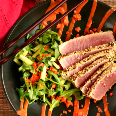 Sesame Crusted Ahi Tuna with Miso Salad