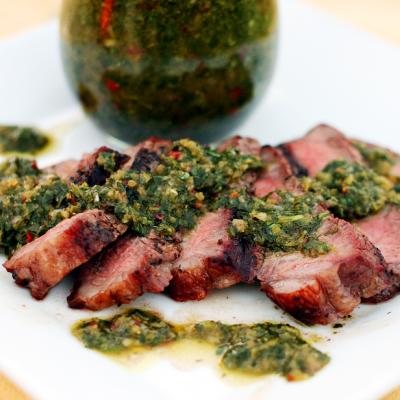 Garlic NY Strip Steak with Chimichurri Sauce