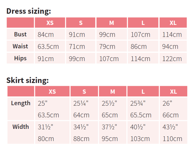 size guide for sewing up dress