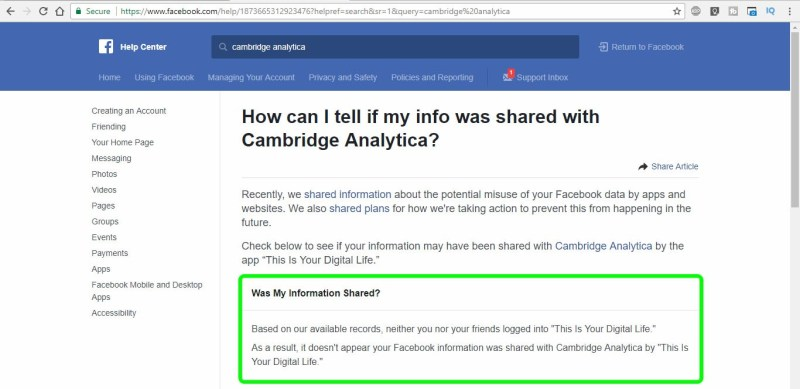 facebook data cambridge analytica data leak check page