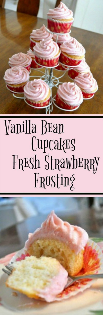 Vanilla Bean Cupcakes with Fresh Strawberry Frosting - Simple Sojourns