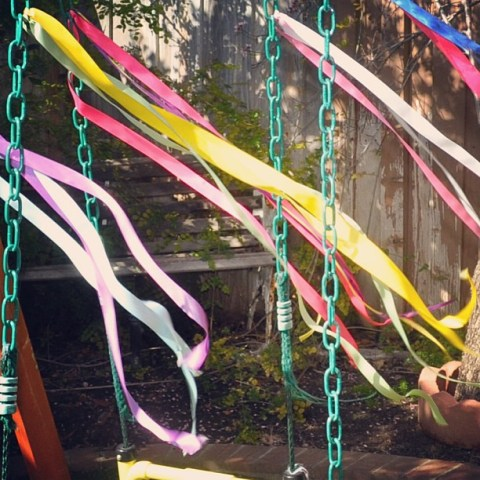Day 6 - 'Air' blowing the swing set ribbons. Instagram Sierra filter #serendipity #ribbonsinthebreeze #color #fmsphotoaday