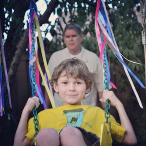 #luvsofab Day 5 - Grandpa and Cody at 'play' in the backyard. #CodyBear #grandkidsarethebest #lovetheseboys #cbias