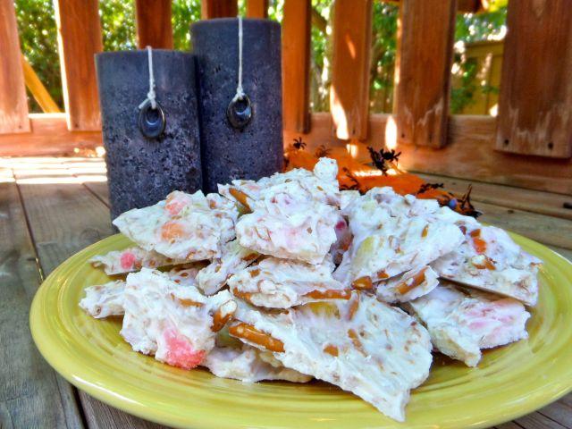 Halloween Candy Corn Pretzel Bark - Simple Sojourns