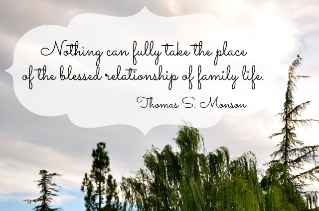 Nothing can fully take the place of the blessed relationship of family life - Simple Sojourns