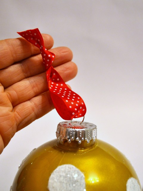 Hand Painted Gold Ornament with Red Dot Ribbon | Simple Sojourns
