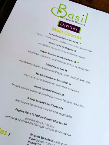 Basil Menu - Simple Sojourns