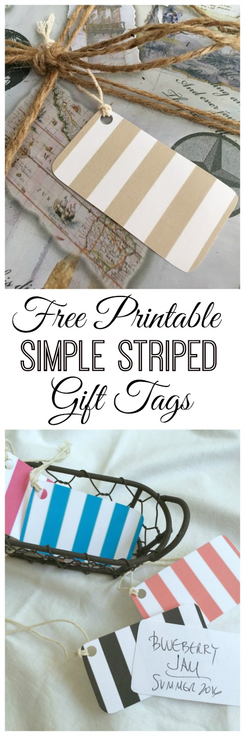 Free Printable Simple Striped Gift Tags - Simple Sojourns